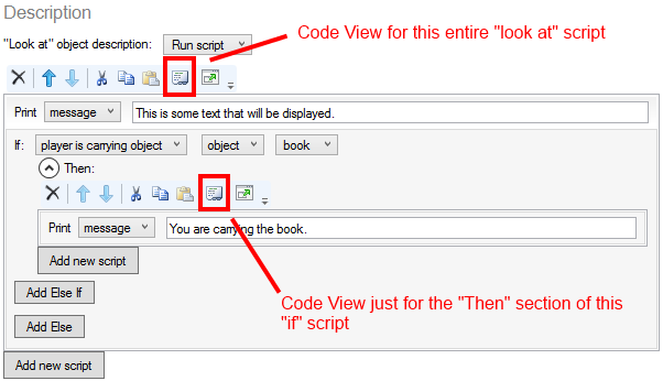 Code View button